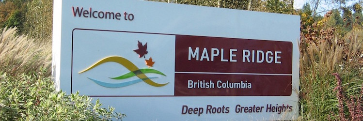 Sign: Welcome to Maple Ridge, British Columbia