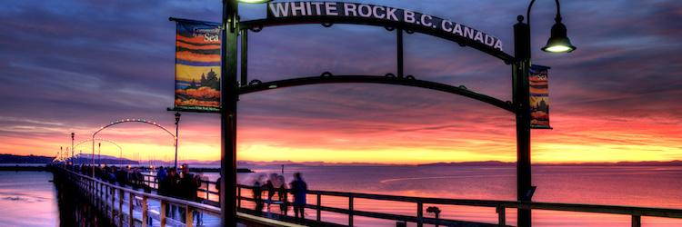 Banner: White rock pier, sunset